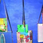 Borse Volanti della strega aborigena. Installazione di Borse nell'Atelier dell'artista in Italia. 2005-2012